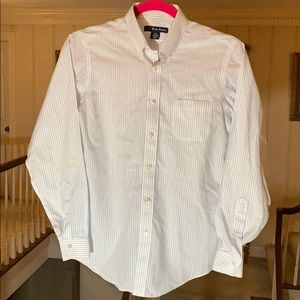 Brooks Brothers 346 Button Down White Blue Stripes